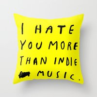 indie Throw Pillows featuring INDIE MUSIC by WASTED RITA