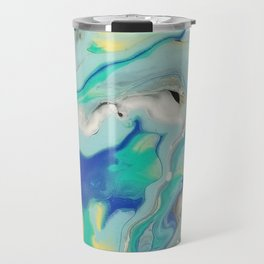 Blue & Yellow Marble Ocean Minimalist Pour Painting Travel Mug
