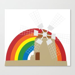 Windmill at a rainbow background Canvas Print