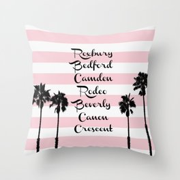 Beverly Hills Street Names Palm Trees Pink Stripes Throw Pillow