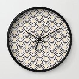 Cream & Blue Japanese Seigaiha Wave Wall Clock