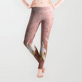 Blush Pink Plant Leggings