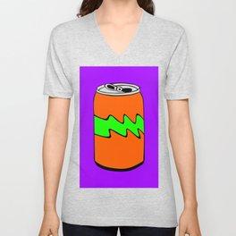 Purple Green & Orange Cartoon Soda Can Colourful Simple Art Unisex V-Neck