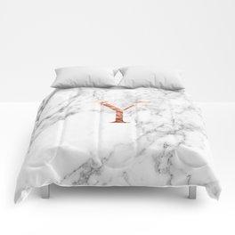 Monogram rose gold marble Y Comforters