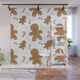 Cute gingerbread man seamless Wall Mural