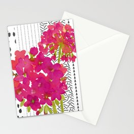 Vibrant Pink Geranium on Black and White Geometric Ground Stationery Cards