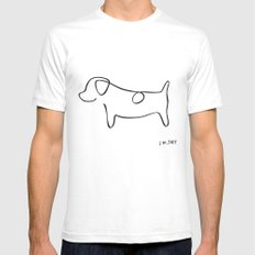 Abstract Jack Russell Terrier Dog Line Drawing White SMALL Mens Fitted Tee