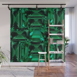 CLUSTERED FACETED EMERALD GREEN MAY GEMSTONES Wall Mural