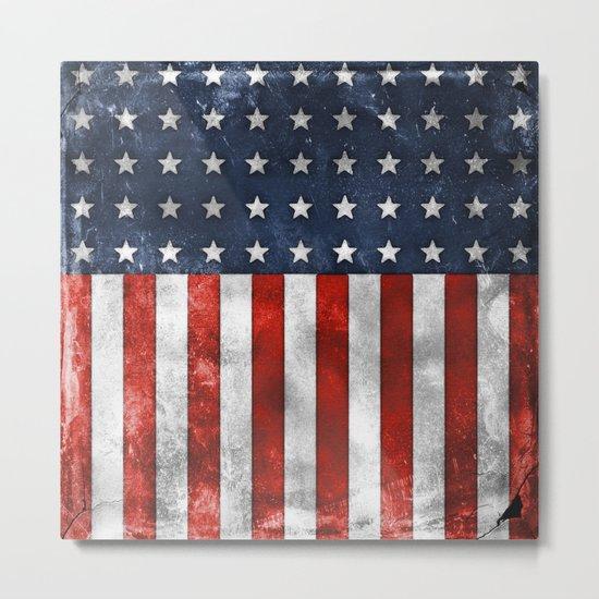 American Flag Stars and Stripes Distressed Grunge Metal Print