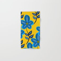 Blue Flowers and Yellow Pattern Hand & Bath Towel