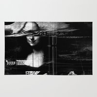 glitch Area & Throw Rugs featuring Mona Lisa Glitch by nicebleed