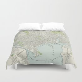 Vintage Map of New Haven Connecticut (1901) Duvet Cover