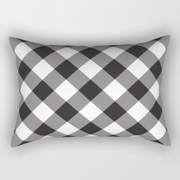 Gingham - Black Rectangular Pillow