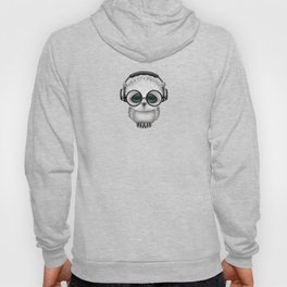 Cute Baby Owl Dj with Headphones and Glasses Hoody