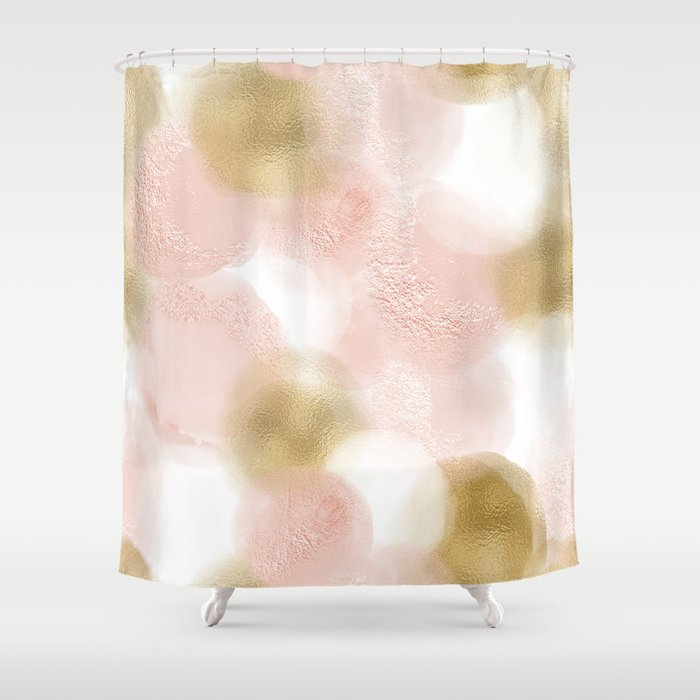 Rose Gold And Blush Shower Curtain