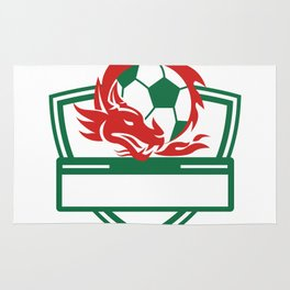 Red Dragon Soccer Ball Crest Rug