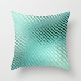 Minimalist Diagonal Line Pattern in Iridescent Blue-Green 24 Throw Pillow