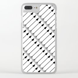 Tribal Art Arrows, Black and White Pattern Clear iPhone Case