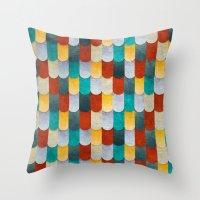mermaid Throw Pillows featuring Mermaid by Diogo Verissimo