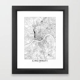 Cincinnati White Map Framed Art Print