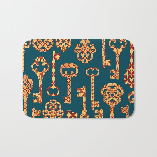 Yellow and Red Skeleton Key Pattern Bath Mat