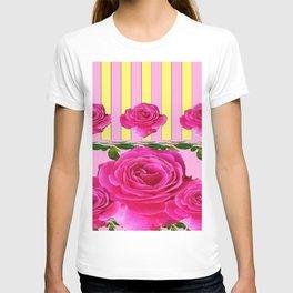 CERISE PINK SPRING  ROSE FLOWERS YELLOW STRIPES  PATTERN T-shirt