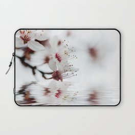 white cherry blossom and water reflection Laptop Sleeve