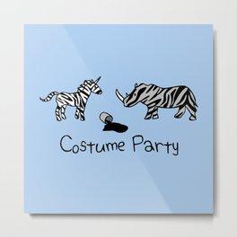 Costume Party (Zebra Unicorn and Rhino) Metal Print