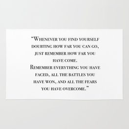 Remember how far you've come - quote Rug