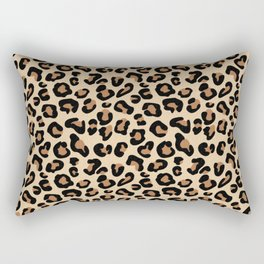 Leopard Print, Black, Brown, Rust and Tan Rectangular Pillow