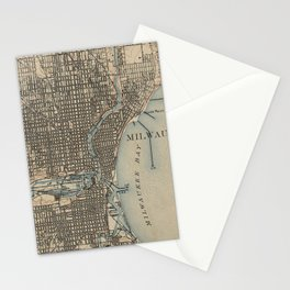 Vintage Map of Milwaukee Wisconsin (1899) Stationery Cards