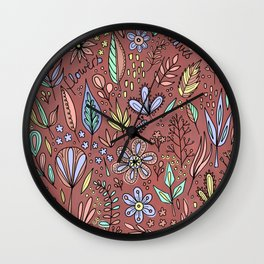 Flowers and Leaves Pattern Wall Clock