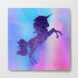 Purple Sparkly Unicorn Metal Print
