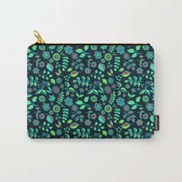 Neon Nature Doodles on Dark Denim Carry-All Pouch