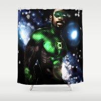 john green Shower Curtains featuring John Stewart : The Green Lantern by André Joseph Martin