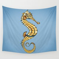 seahorse Wall Tapestries featuring Seahorse by Andreas Preis