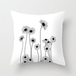 Minimal line drawing of daisy flowers Throw Pillow