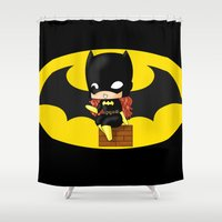 batgirl Shower Curtains featuring Chibi Batgirl by artwaste