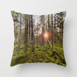 In the woods sun shine Throw Pillow