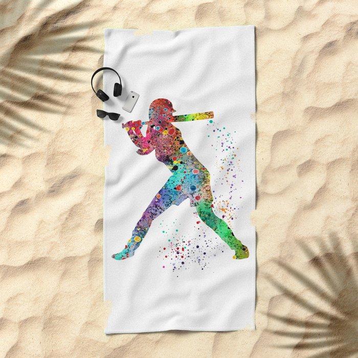 Baseball Softball Player Sports Art Print Watercolor Print Girl's softball Beach Towel
