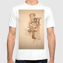Watercolor Portrait Painting of Victorian Girl with Button Shoes T-shirt