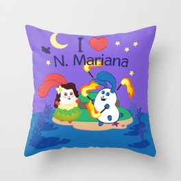 Ernest & Coraline | I love Northern Mariana Islands Throw Pillow