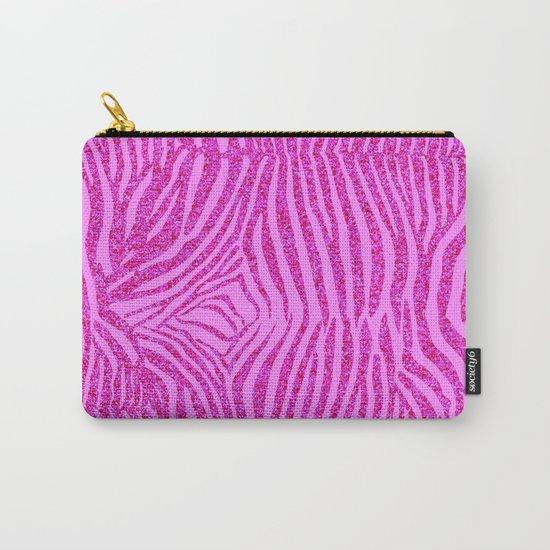 Light Pink Glitter Zebra Print Carry-All Pouch