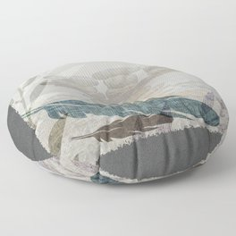 Zen Stacked Rocks on Beach Graphic Feathers and Branches Floor Pillow