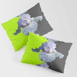 MODERN WHITE IRIS DIVIDED CHARTREUSE & GREY ART Pillow Sham