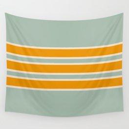 70s Style Mint Orange White Retro Stripes Pomona Wall Tapestry