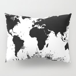 world map city skyline 4 Pillow Sham
