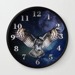 Owl in Flight Wall Clock