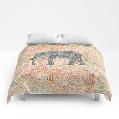 Tribal Paisley Elephant Colorful Henna Floral Pattern Comforters