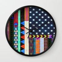 boho Wall Clocks featuring Boho America by Schatzi Brown